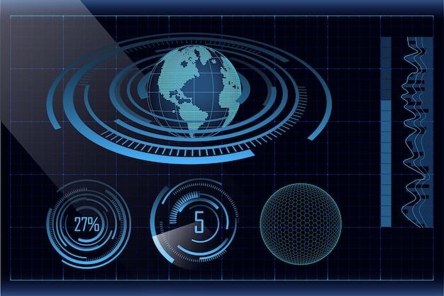 Conception de hud futuriste bleue avec des graphiques de terre, de barres et de cercles en pointillé