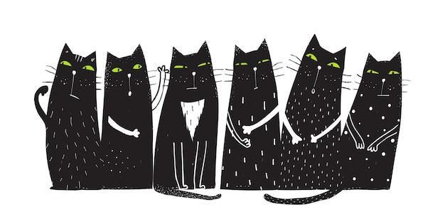 Conception humoristique de chats domestiques pour des imprimés de t-shirts et d'autres projets dessin animé dessiné à la main de vecteur