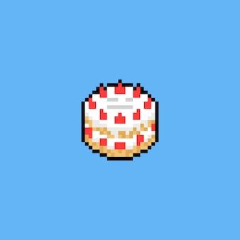 Conception d'icône de gâteau aux fraises de dessin animé pixel art.
