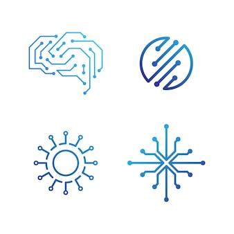 Conception de l'icône d'illustration vectorielle de modèle de logo de circuit