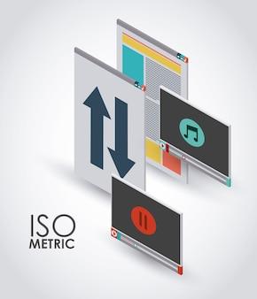 Conception d'icône interface isométrique