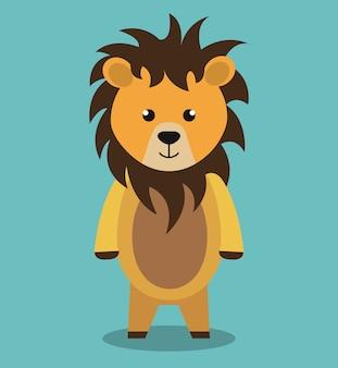 Conception d'icône isolé lion mignon