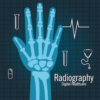 Conception d'icône isolé radiographie de la main