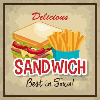 Conception d'icône isolé sandwich délicieux
