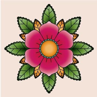 Conception d'icône isolé tatouage floral