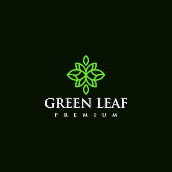 Conception d'icône logo feuille verte abstraite