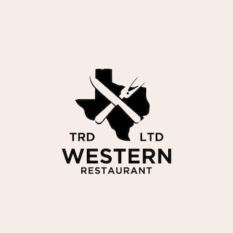 Conception d'icône de logo de longhorn de restaurant du texas