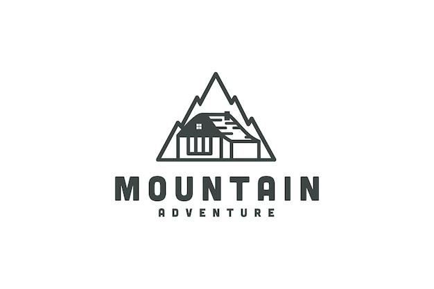 Conception d'icône de logo de maison de chambre d'aventure de montagne