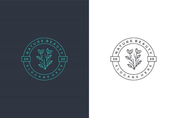 Conception D'icône Logo Minimalis Feuille Verte Vecteur Premium