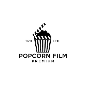 Conception d'icône de logo noir de film de cinéma de pop-corn de qualité supérieure