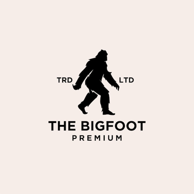 Conception d'icône de logo noir premium big foot yeti vector