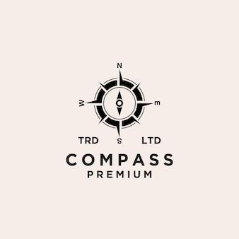 Conception d'icône de logo noir vecteur boussole premium