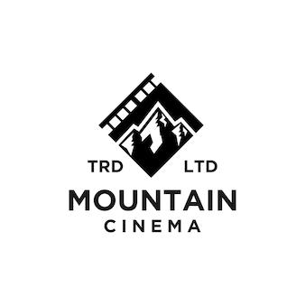 Conception d'icône de logo noir de vecteur de film de montagne d'aventure premium
