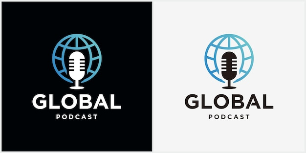 Conception d'icône de logo podcast mondial conception de modèle de logo vectoriel illustration de chat mondial