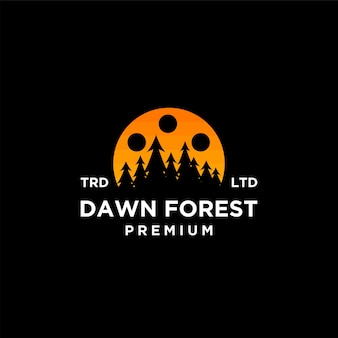 Conception d'icône de logo de vecteur de film de forêt d'aube d'arbre de bois de qualité supérieure