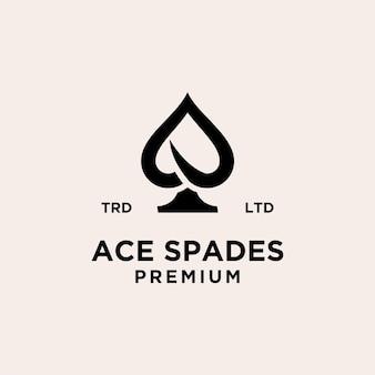Conception d'icône de logo de vecteur noir de carte ace premium