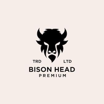 Conception d'icône de logo vectoriel premium bison noir isolé sur fond blanc