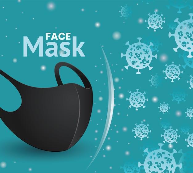Conception d'icône noire de masque facial du thème du virus covid 19