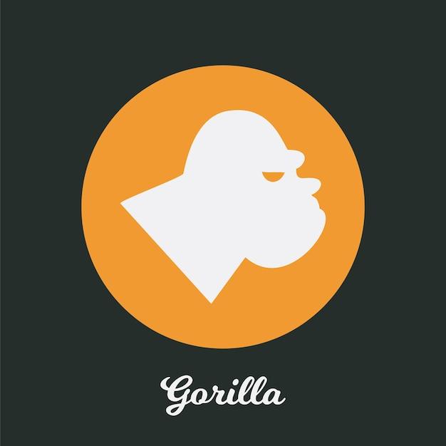 Conception d'icône plate de gorille, élément de symbole de logo