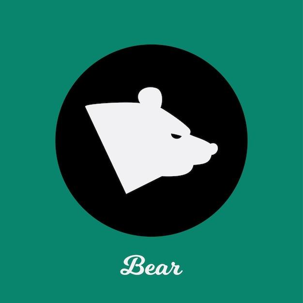 Conception d'icône plate d'ours, élément de symbole de logo
