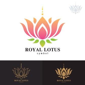 Conception d'icône de symbole de lotus royal