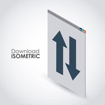 Conception d'icône de téléchargement isométrique