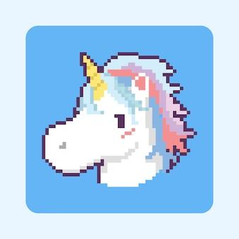 Conception d'icône tête de licorne dessin animé pixel art