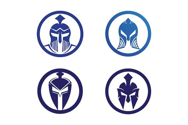 Conception d'icône de vecteur de modèle de logo de casque spartiate