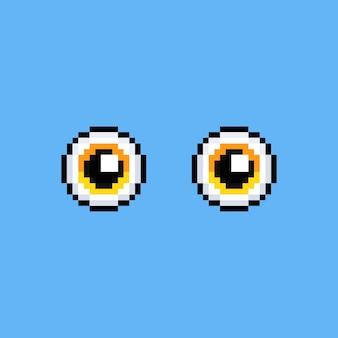 Conception d'icône yeux jaunes dessin animé pixel art.