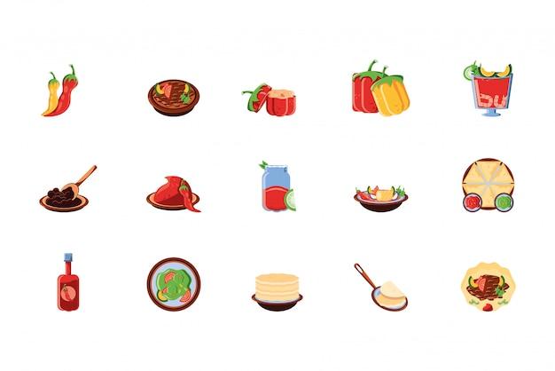 Conception d'icônes de cuisine mexicaine