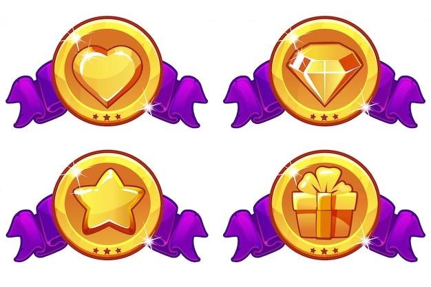 Conception d'icônes de dessin animé pour jeu, bannière de vecteur d'interface utilisateur, ensemble d'icônes d'étoile, de chaleur, de cadeau et de diamant