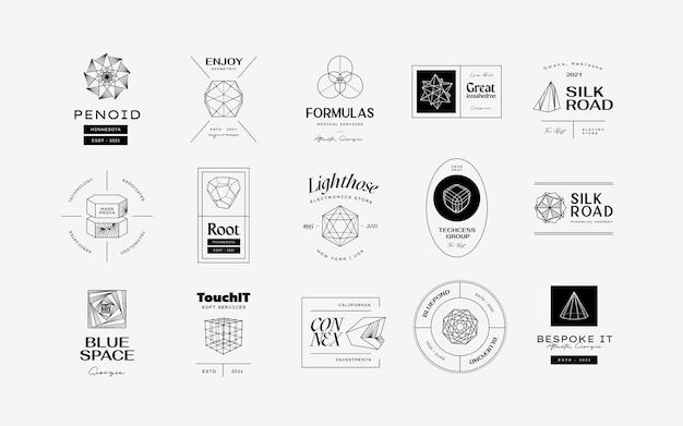 Conception d'icônes géométriques abstraites vectorielles modernes dans un style branché