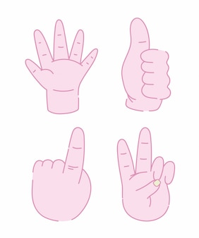 Conception d'icônes isolés de geste différent de mains humaines
