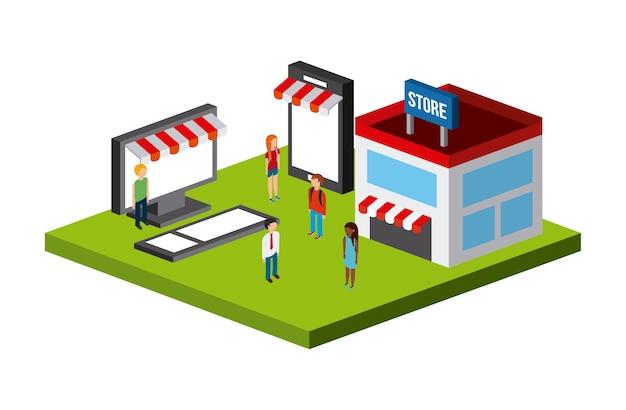 Conception d'icônes isométriques shopping