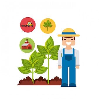 Conception d'icônes de jardinier et de jardinage