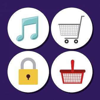 Conception d'icônes de magasin. panier, note de musique et cadenas fermé
