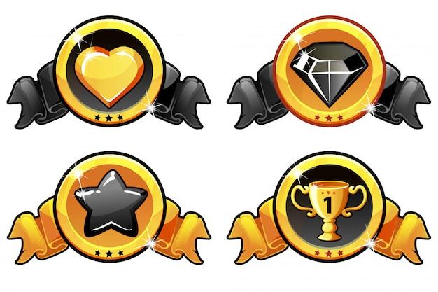 Conception d'icônes d'or et noir pour le jeu, bannière de vecteur d'interface utilisateur