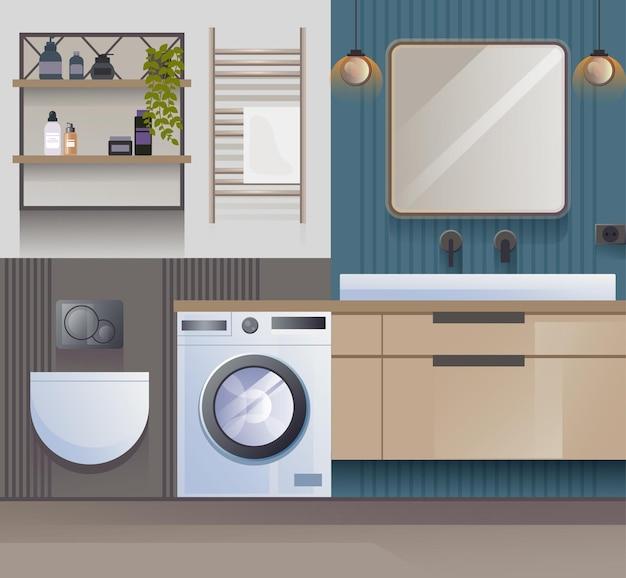 Conception d'idée de projet de rendu intérieur plat salle de bain