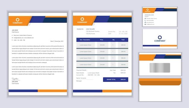 Conception d'identité d'entreprise professionnelle de papeterie moderne avec modèle de papier à en-tête, facture et carte de visite.