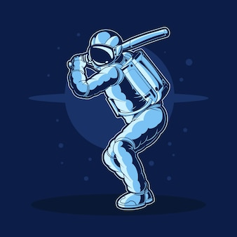 Conception d'illustration de baseball astronaute