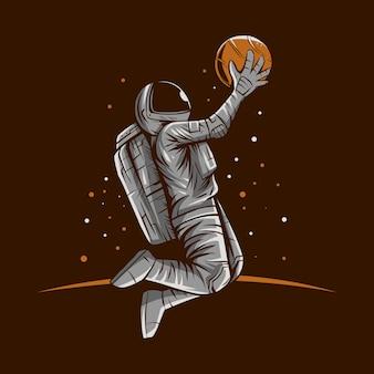 Conception d'illustration de basket-ball d'astronaute slam dunk