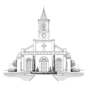 Conception d'illustration de bâtiment dessiné à la main