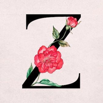 Conception d'illustration botanique d'une lettre