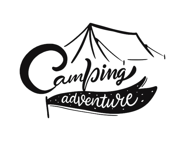 Conception d'illustration de camping aventure