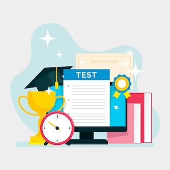 Conception d'illustration de certification en ligne