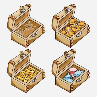 Conception d'illustration de collection de boîte au trésor ouverte de dessin animé. vecteur libre