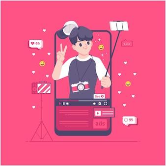 Conception d'illustration de concept de blogueur vidéo