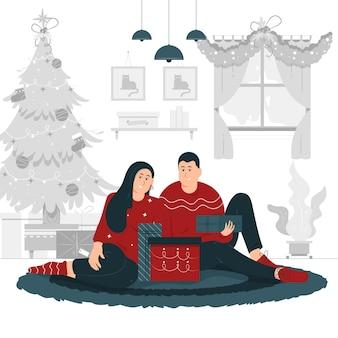 Conception d'illustration de concept d'un couple célébrant noël ensemble