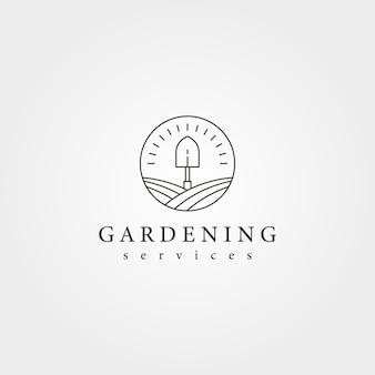 Conception d'illustration créative de logo de pelle de paysage de jardin, conception de logo d'art de ligne