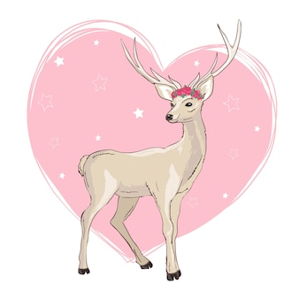 Conception d'illustration de dessin animé de cerf. vecteur animal bambi mignon.